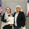 Shady Brook principal Shannon Gauntt with Ellen Jones, holding donation certificate recognizing Shady Brook Elementary PTA.