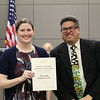 Hurst Hills assistant principal Marie Becker with Fred Campos, holding donation certificate recognizing Hurst Hills Elementary PTA.