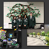 Collage of photos -- student ambassadors in front of a tree made of paper, and two photos of plant-themed gifts for board members.