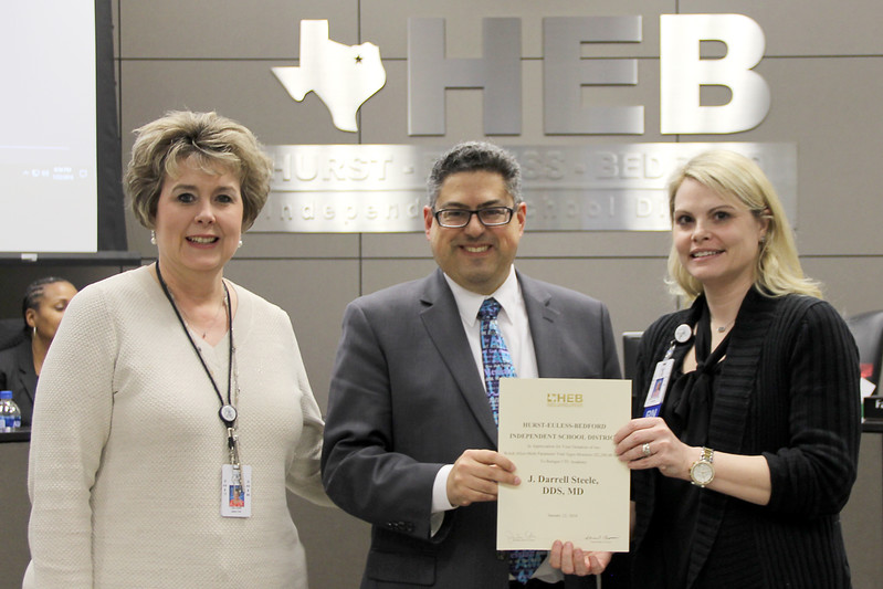 Board member Fred Campos and representatives from BCTEA, in recognition of a donation from J. Darrell Steele, DDS, MD.