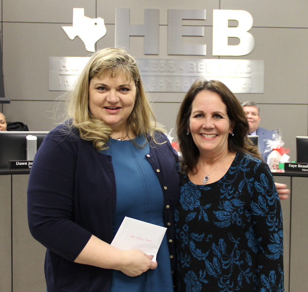 Board president Julie Cole with Bedford Junior High teacher Theresa Large.