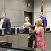 Student Nico Ross and school board member lead Pledge of Allegiance.
