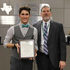 L.D. Bell Band's Zachary Campbell with Superintendent Steve Chapman, in recognition of Zachary's selection to the TMEA All-State Band.