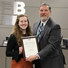 L.D. Bell Choir's Lyra Ehninger with Superintendent Steve Chapman, in recognition of Lyra's selection to the TMEA All-State Choir.