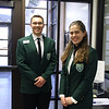 Two students from the Student Ambassadors program, greeting guests.