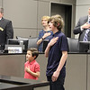 Mason and Jonas from Donna Park Elementary leading the Pledge of Allegiance