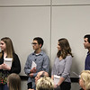 Senior class officers from L.D. Bell High School prepare to present invitations to upcoming events to the Board of Trustees