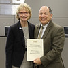 Board member Faye Beaulieu and Deputy Superintendent of Business Operations David Garcia in recognition of a donation from the Bank of America Richardson Employee Engagement Committee.