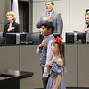 Students Keira and Benjamin from South Euless Elementary lead the Pledge of Allegiance.