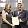 Principal Misty Donaho and Board member Fred Campos in recognition of a donation from the Hurst Hills Elementary PTA.
