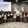 Principal Jim Bannister and Superintendent Steve Chapman with L.D. Bell High School's top ten seniors by GPA.