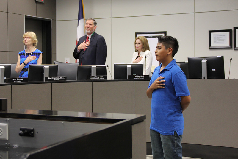 Stonegate Elementary's Josh B. leading the Pledge of Allegiance.