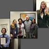 Collage of photos from the board meeting -- a National Merit Commended Scholar from Trinity, Bellaire Elementary staff with donor representatives, and the HEB ISD Student Ambassadors who greeted visitors to the board meeting.