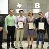 Superintendent Steve Chapman, L.D. Bell Principal Jim Bannister, and Trinity Principal Mike Harris with three of HEB ISD's National Merit Semifinalists.