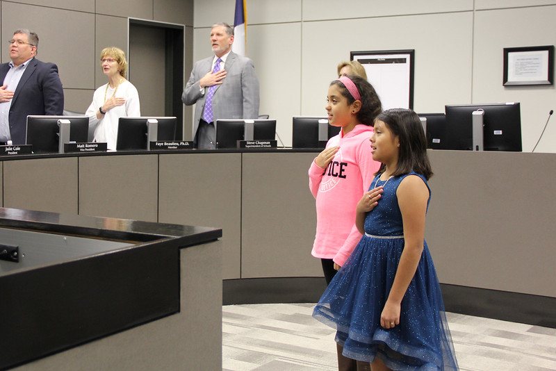 Katherine P. and Jessey S. from West Hurst Elementary lead the Pledge of Allegiance.