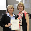 Board member Faye Bealieu with Assistant Superintendent Mary Stokic in recognition of a donation from West Hurst PTA