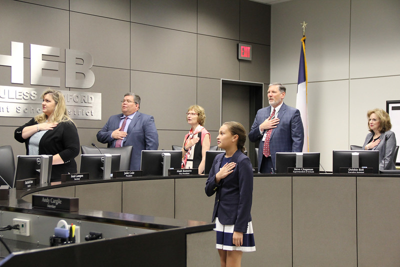 Kylie V. of Viridian Elementary leads the Pledge of Allegiance