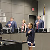 Kylie V. of Viridian Elementary leads the Pledge of Allegiance
