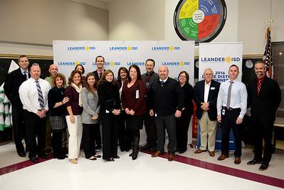 L to R: Paul Johnson, VRHS principal; Charlie Little, VHS principal; Lisa Nucci, director of college and career readiness; Christa Thompson-Martin, VHS dean of instruction; Shandalyn Porter, LHS dean of instruction; Christine Simpson, RHS principal; Jennifer Colman, CPHS dean of instruction;  Arturo Lomeli, GHS principal; John Sloan, CPHS principal; Chris Simpson, LHS principal.