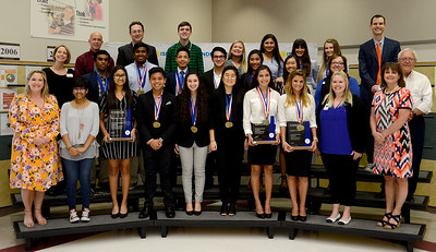 Students from Cedar Park, Leander, Vandegrift, Vista Ridge high schools, recognized for their accomplishment at DECA's International Career Development Conference. Students included Gregory Phea, Shiva Kumar, Rithvik Saravanan and Cheryl Cruz from CPHS; Kyle Decker and Michelle Parker from LHS; Ishika Puri, Codi Farmer, Natasha Richtermeyer Genivive Betancourt, Rena Liang, Jessica Luo, Celina Pan, Karla Trujillo and Cecilia Reis from VHS; and Spenser Young, Thao Nguyen, Kaira Tran, Sharika Menon, Siona Kowlessar, Clarence Lilley, Eliza Hammond, Chris Dihn, Katie Rivers, Rania Mouhieddine, Kyle Feliciano, Sue Han and Case Connor from VRHS.