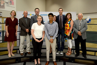 Vandegrift High School student Sonesh Patel, recognized for receiving the Presidential Academic Scholar Award, one of only six to recive this award in Texas and one of 161 in the country. Sonesh demonstrated the award's criteria of outstanding academic achievement, artistic excellence, leadership, citizenship and service, and contribution to school and community. As his most influential teacher, Sonesh named VHS' Nina Legg.
