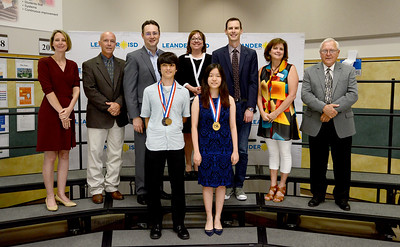 Cedar Park High School's Josh Kolenbrander and Vandegrift High School's Lucy Xu, recognized for placing in the top three in the state in UIL academics competition. Josh took 2nd in UIL Math Number Sense, and Lucy finished 3rd in the chemistry competition.