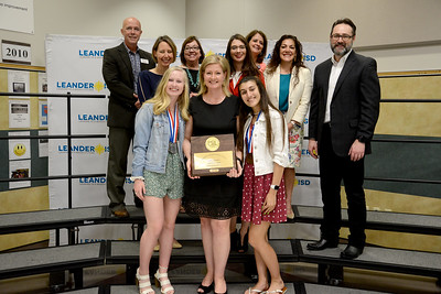 Rouse High School's Journalism team, recognized for winning the state championship in the UIL academics competition. Avery Smith won silver in both Headline and News Writing, and Natalie Sinha won bronze in Editorial Writing. RHS Journalism is led by Coach Mikyela Tedder.