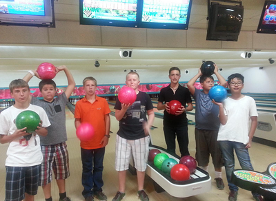 Here is a picture from our Middle School bowling on Sunday, Sept. 2, 2012. From left to right are Konrad Hart, Ivan Elizarov, Clayton Lamm, Patrick Hales, Cesar Hernandez, Ismail Dchabrailov, and Shang Wang.