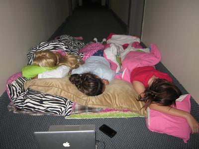 Sleeping in the hallway! haha