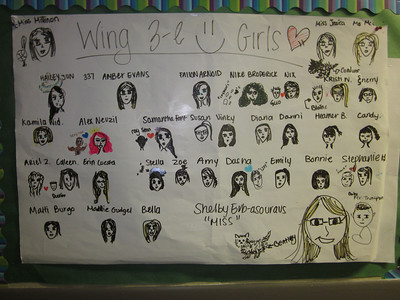 A silly drawing of everyone in wing 3-e.