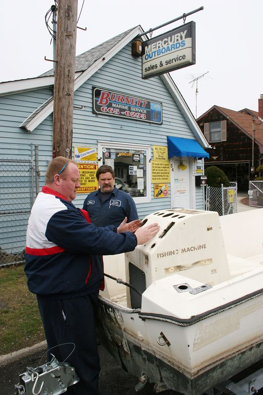 3-29-2005<br /> <br /> Today I brought the camera boat down to Burnett Marine service in Bay Shore. I had Gene and Dave check out the boat and help me decide on the power options for the re-powering of the camera boat. They were a great help and we decided to go with a new 60 hp four stroke.