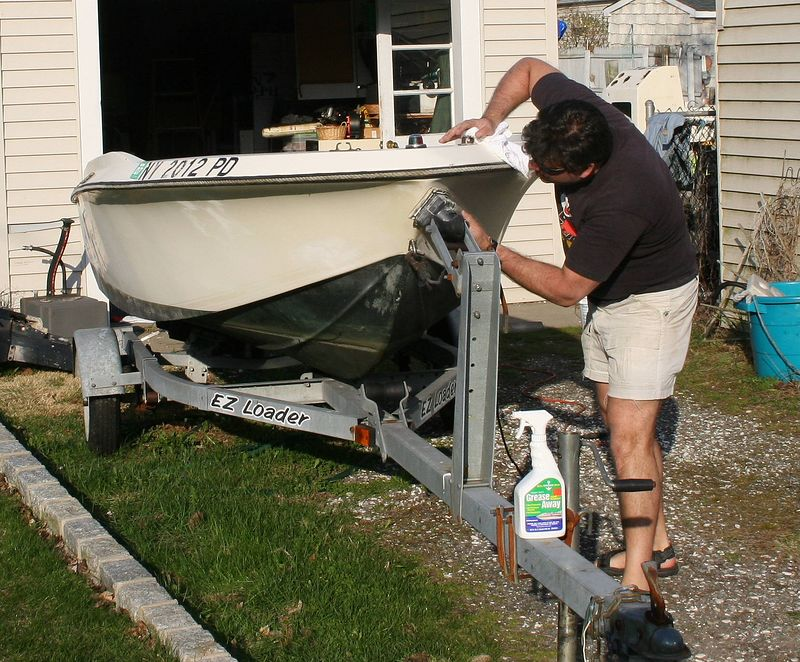 4-18-2005<br /> I Finally got a chance to get back to work on the camera boat. I filed in all the deep scratches in the hull I received over the years with fiberglass filler.
