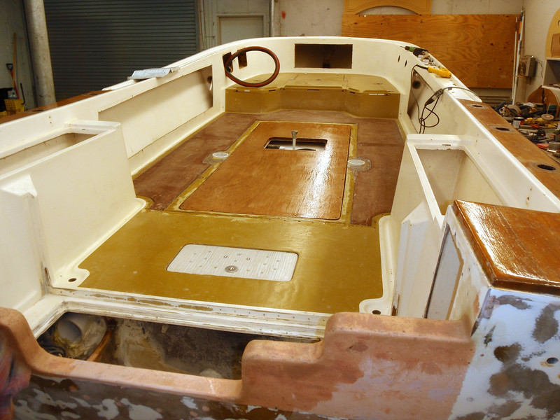 End of the day and here it is. Looking good. We also cut more starboard today making the bilge hatch, transom door and transom side hatches. Lots of progress and a great day.<br /> <br /> Captain Al Lorenzetti