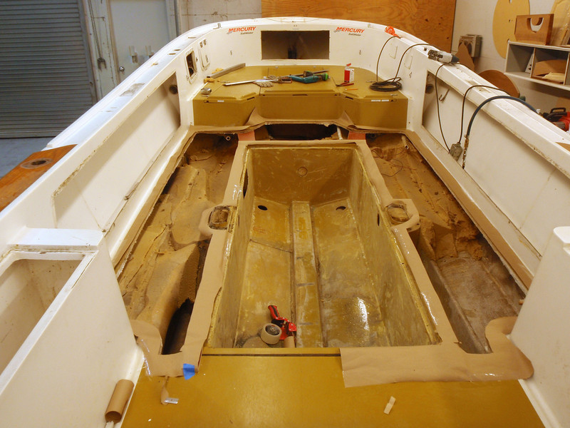 We replaced the gas tank coffin so we could trace the floor outline with paper and cardboard.