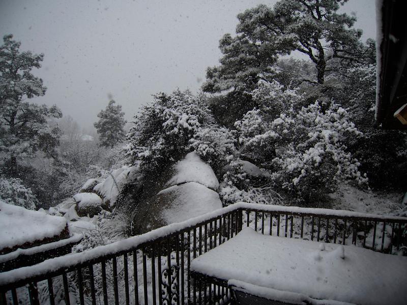 Snowing on my Deck
