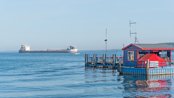 Freighter passing through the Straits of Mackinac: Mackinac Island, Michigan