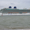A rear 3/4 view of P & O Britannia as she slips passed Calshot