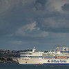 Pont Aven comes around Drakes Island so as she can position herself for a stern first approach to her dock in Plymouth
