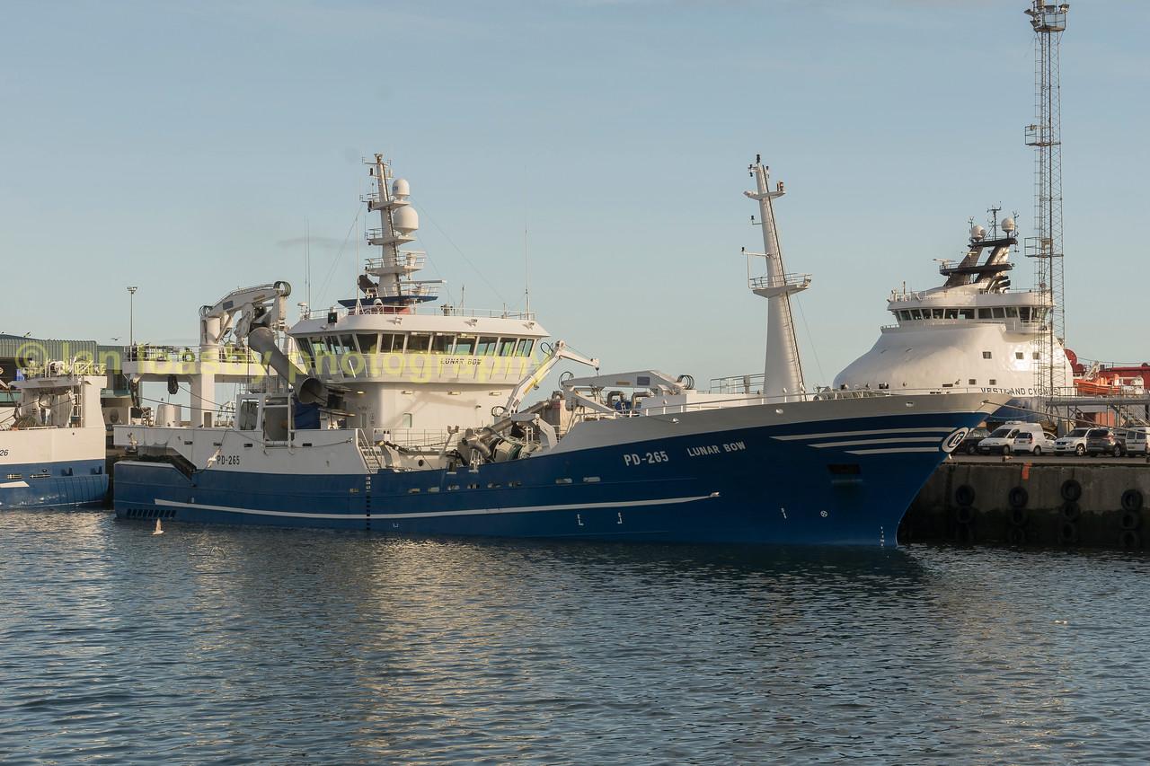 Deep sea scottish fishing trawler, in Peterhead harbour.