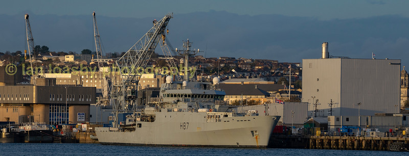 HMS Echo tied up in Devenport Royal naval dockyard. She is a survey ship. Image captured from the Torpoint ferry
