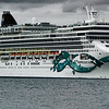 Norwegian Jade , one of the many cruise ships that can be seen on southampton water makes her way  own southampton water having left the cruser terminal in southampton