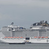 MSC Vituosa at her birth at the Southampton cruise liner terminal