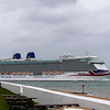 P & O cruise liner Britannia slips passed Calshot on her way back to Weymouth bay and another lay over having replenished food , water fuel etc at her berth in Southampton. Numerous cruise liners are just anchored in Weymouth bay not being able to cruise due to Cocid 19 restrictions ( June 2021)