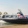 Hovertravel Griffon 12000TD hovercraft GH-2161 'Island Flyer' glides ashore at Southsea