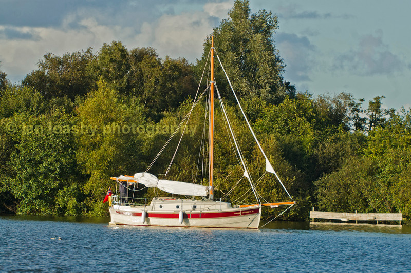 Sailing boat moored up on the norfolk broads