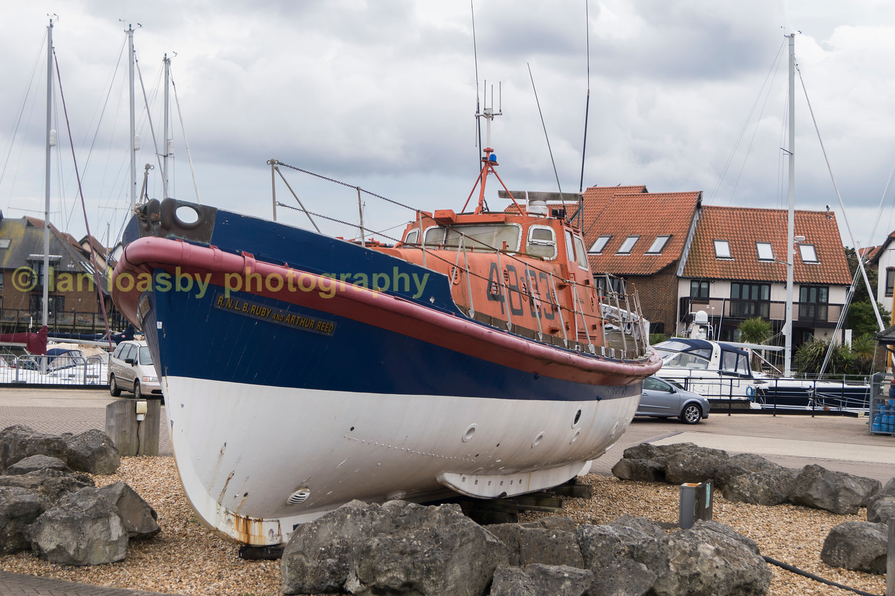 RNLB Ruby Arthur Reed;   preserved and displayed at Hythe marina on the solent.  She is a Oakley class lifeboat built at a cost of £60,000. at the Littlehampton boat yard of William Osbourne. She  was launched in 1966 and spent her entire service as Cromers life boat being retired in September 1984.