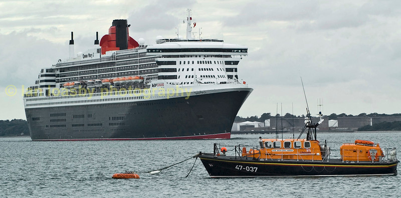 Cunards Queen Mary II, on the solent passing Colstock having departed Southampton