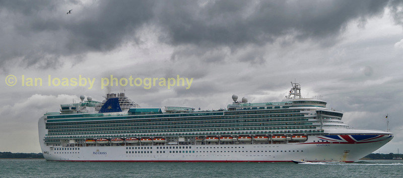 PO cruise ship Ventura departing Southampton and photographed passing calshot on the solent
