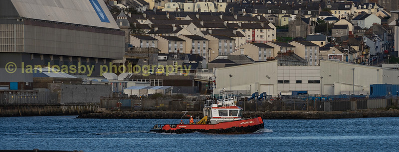 MTS Vulcan a twin screw tug owned and operated by marine Towarage services (MTS) heading out of the river tamar