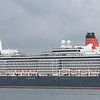This is Cunards Queen Elizabeth on her berth at the cunard cruiser liner terminal ,  Southampton docks